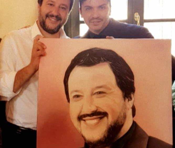 Il pittore catanese Alfonso Restivo dedica un quadro a Matteo Salvini