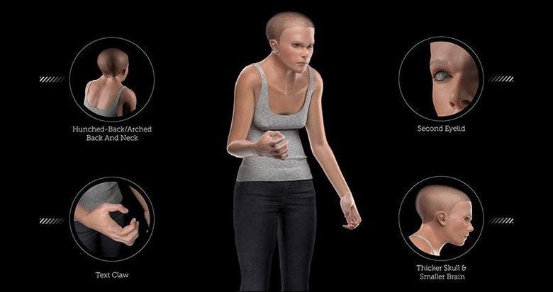 """Mindy, l'umano 3D del 2100 che allarma sulla """"postura da smartphone"""""""