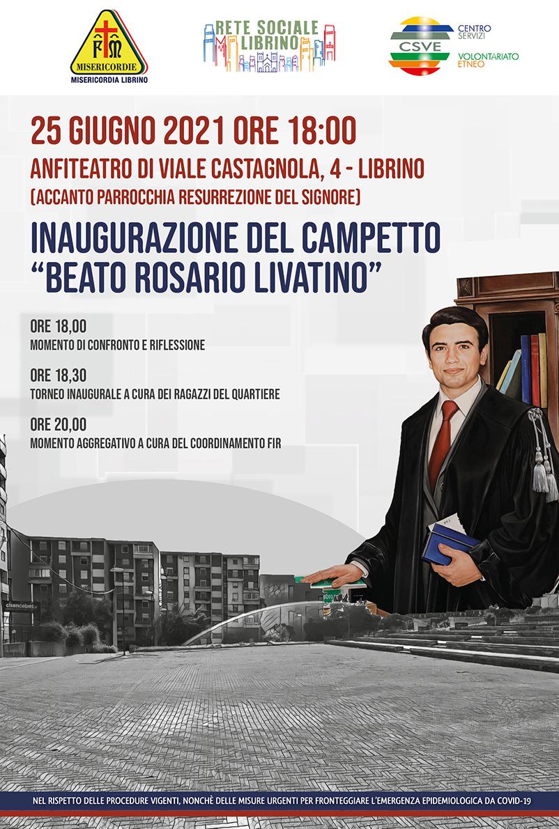 """Librino, inaugurazione del campetto """"Beato Rosario Livatino"""""""