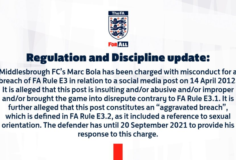 La Football Association punisce Marc Bola per un tweet pubblicato quando aveva 14 anni